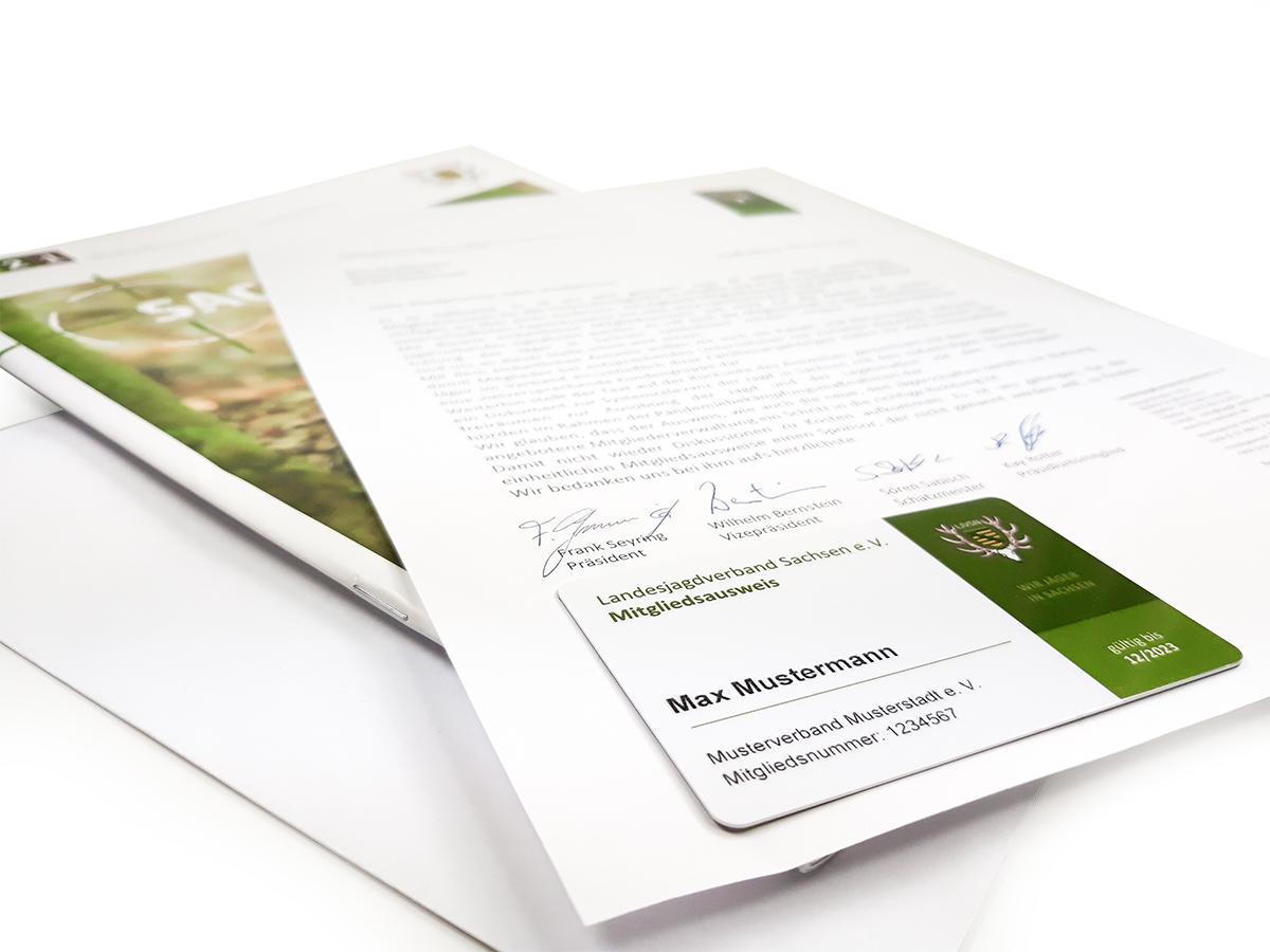 Landesjagdverband Sachsen Mitgliedsausweis, Anschreiben und Ausweis