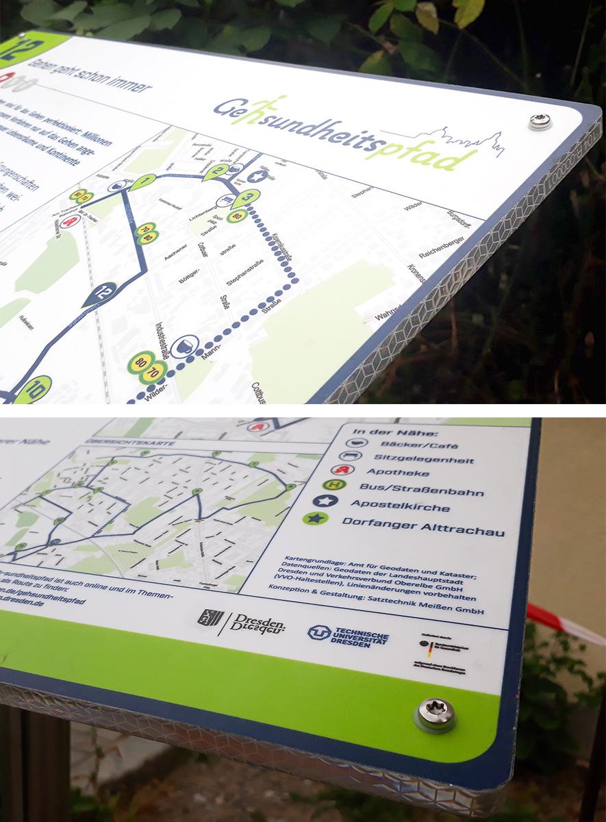 Geh-sundheitspfad Dresden, 10000 Schritte, Tafeln, Beschilderung