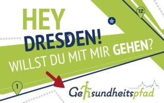 Geh-sundheitspfad Dresden, 10000 Schritte, Tafeln, Beschilderung, Broschüre, Flyer